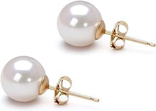 Akoya 养殖珍珠耳环 AAA 6-10mm 白色养殖珍珠耳环套装 镀金镶嵌