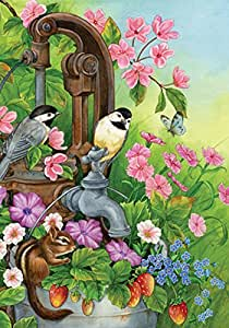 Toland Home Garden Watering Time 28 x 40 Inch Decorative Cute Spring Bird Flower Floral House Flag