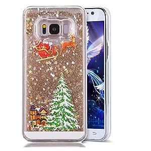 Galaxy S8 手机壳,S8 手机壳,LEECOCO 圣诞快乐 3D Quicksand 闪亮闪耀流动防震透明硬质 PC 保护套适用于三星 Galaxy S8 Carriage Gold