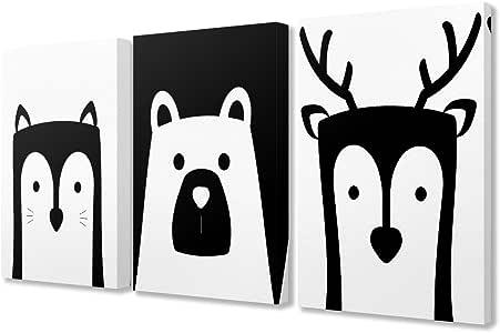 "Stupell Be Wild 字样的儿童房黑色和白色动物绷紧帆布墙艺术,3 件,每件 40.64 x 3.81 x 50.80 厘米,多色 多种颜色 16"" x 20"" brp-2231_cn_3pc_16x20"