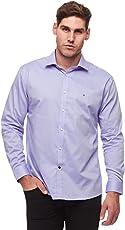 Tommy Hilfiger汤米·希尔费格100%棉质LS修身免烫男式正装衬衫