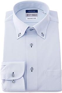 Haruyama i-shirt 完全免燙 有彈性 速干 窄版 長袖 西裝襯衫 男式 藍色 日本 L84(首回り41cm×裄丈84cm) (日本サイズL相當)