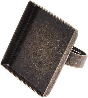 Beadaholique 方形边框可调节戒指,26 毫米,古铜色