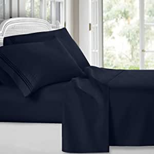 Clara Clark Premier 1800 Collection 4pc Bed Sheet Set - Cal King Size, Navy Blue,