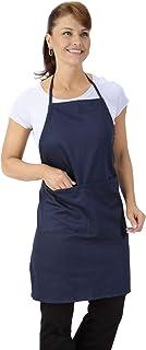 Nouvelle Legende 商务级厨房围裙,可调节绳,双口袋,可机洗 - 2 件装 *蓝 29 in X 32 in NL-Apron-2-BL