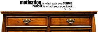 "Design with Vinyl JER 665 2 Motivation is What you Get Started Habit is What Keeps you Going... Vinyl Wall Decal, 12"" x 30..."