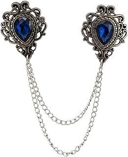 AN KINGPiiN 蓝宝石和银雕刻链子翻领别针,胸针西装铆钉,衬衫铆钉男士配饰
