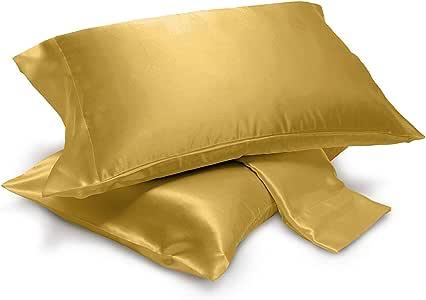 Alexandra DreamHome 4 件套丝绸缎床单套装,*柔软,多色 青铜色 2-pc pillow cases (king)