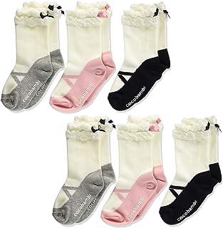 Filloie 菲罗瓦 6双装 儿童 袜子 圆筒长 芭蕾舞鞋 仿古图案 带丝带 防滑 姓名空间 88-65-1161m 白色 15~20cm