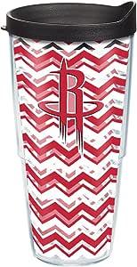 Tervis NBA 休斯顿火箭系列黑色杯盖玻璃杯,24 盎司,透明
