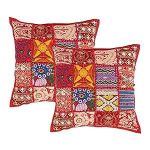 一套 2 件枕套,刺绣亮片拼接方形靠垫套适用于沙发家居床上用品装饰 - Aheli 红色 18 x 18 inch