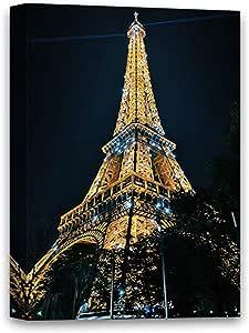 """趣味圣诞丑毛衣巴黎现代帆布墙壁艺术埃菲尔铁塔帆布装饰巴黎夜视埃菲尔铁塔框架海报巴黎城市风景礼品创意准备挂件 8"""" x 10"""""""