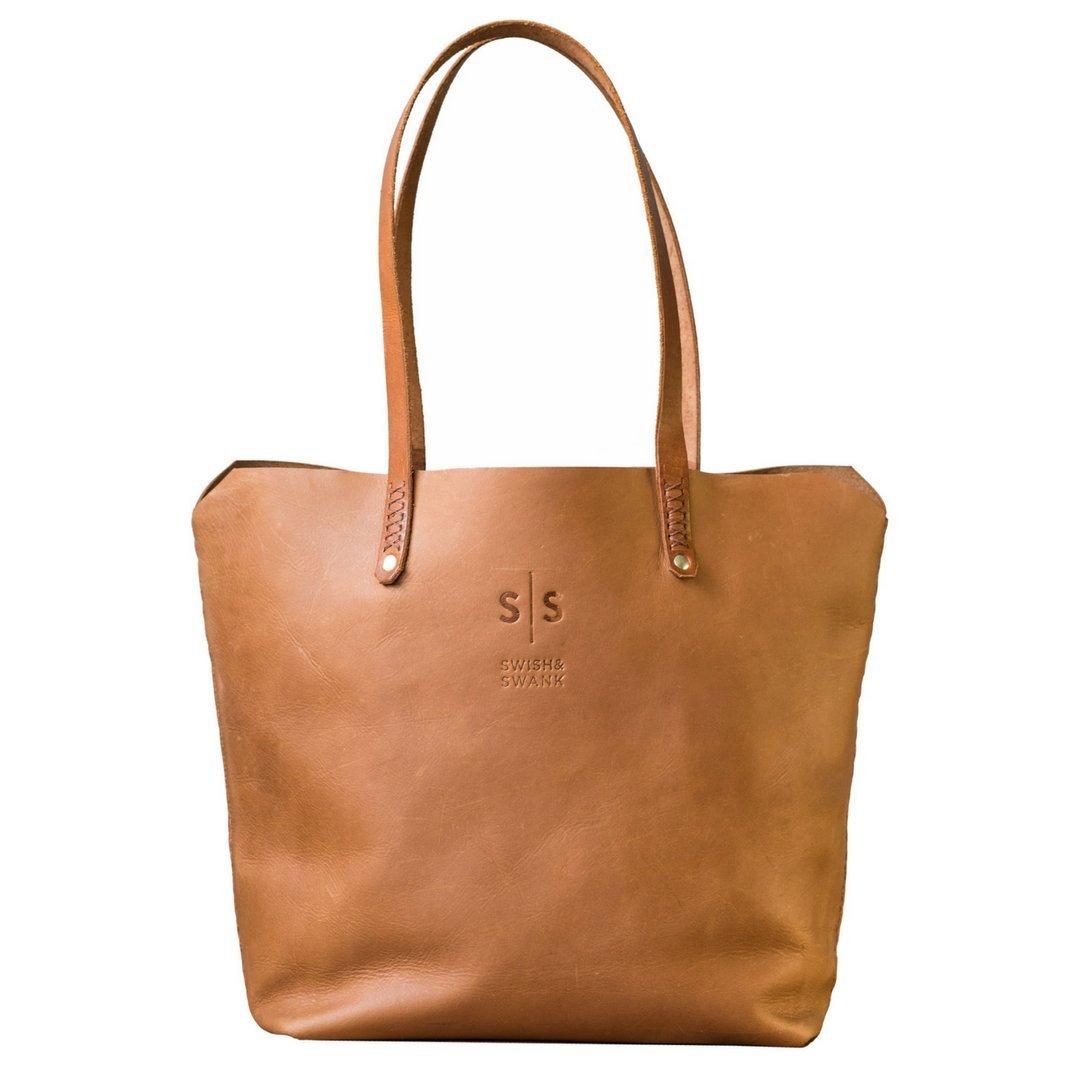 真皮手提包 简约设计风格带肩膀或手提带。 棕褐色 One_Size