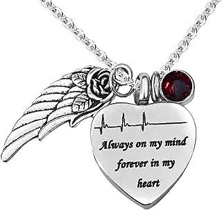JMQJewelry Urn 项链 Ashes Heartbeat Forever in My Heart Angel Wing Cremation 珠宝纪念品 Jan-Dec 诞生石水晶