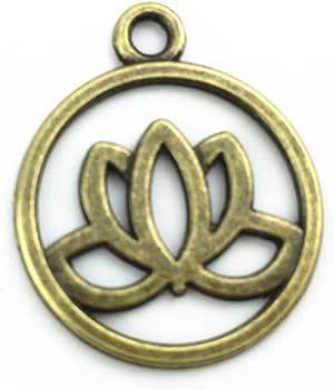 Y&Y Star 20mm 可爱圆形莲花吊坠 DIY 古董吊坠用于手工制作 100pcs Lotus Bronze charm