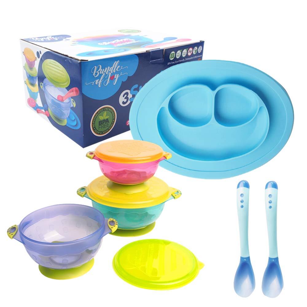 Bundle of Joy 婴儿喂食套装,宝宝吸盘,宝宝碗,硅胶盘,两个热*勺 - 幼儿喂食套装 - 婴儿喂食套装,不含 BPA 硅胶(蓝色) 蓝色