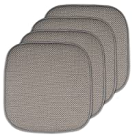 "Sweet Home Collection Memory Foam Honeycomb Non-Slip Back Chair/Seat Cushion Pad (4 Pack), 16"" x 16"", Silver"