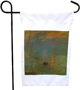 Rikki Knight 克劳德·莫奈艺术日出屋或花园旗帜,27.94 x 27.94 厘米图片,30.48 x 45.72 厘米