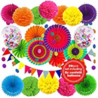 DECORAUSBOX 嘉年华派对装饰,29 件墨西哥派对装饰套装,含纸扇、五彩气球、旗帜、生日庆典、塔克、嘉年华或五月节五彩