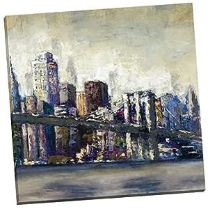 """投资组合帆布装饰""""City Landmark I""""Bridges 装裱/拉伸帆布墙艺术 24 x 24"""" NCC4971"""