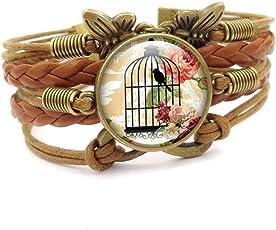 Mrsrui Infinity Love 迷人多层皮革缠绕表带棕色绳手链手镯可调节女士女孩