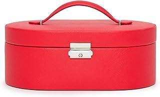 WOLF Heritage 椭圆形首饰盒,红色十字纹