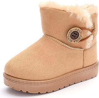 LAFEGEN 女童幼儿靴男孩舒适人造毛皮衬里防滑贝利纽扣户外及踝鞋保暖冬季雪地靴(幼儿/小童)