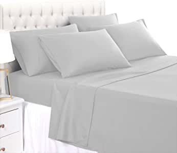 BASIC CHOICE 6 件套床上用品 - 奢华 2000 床上用品系列防皱防褪色床单 灰色 加州King size 4023