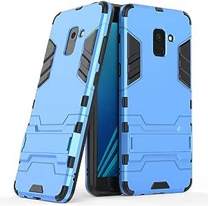 三星 Galaxy A8 Plus 2018(6 英寸)2 合 1 带支架防震功能混合双层装甲保护壳 蓝色