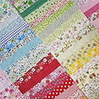 Phantomon 50 件 8 英寸 x 8 英寸棉织物手工亚麻方形预裁拼接床单适用于绗缝、缝、剪贴簿、简单图案(20 厘米 x 20 厘米)