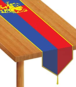 Beistle Printed Medieval Table Runner, 11 by 6-Feet, Red/Blue/Yellow