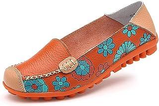 Ablanczoom 女式舒适皮革花卉印花平底鞋休闲驾驶乐福鞋女式步行鞋 橙色 11.5