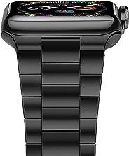 iiteeology 兼容苹果手表表带,*版实心不锈钢表带商务替换苹果手表腕带 5/4/3/2/1iiteeology3840b  38mm/40mm Black