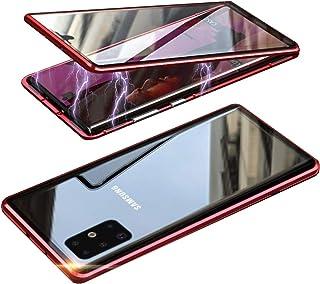 HONTECH 三星 Galaxy S20 Ultra 磁性手机壳,前后磁性吸附手机壳,透明钢化玻璃,内置屏幕保护膜,金属保险杠翻盖,6.9 英寸 2020 红色
