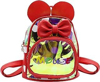 mosstyus 儿童幼儿全息背包卡通鼠标耳朵圆点蝴蝶结旅行学前背包背包 红色 均码
