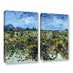 ArtWall 2-Piece Vincent Vangogh's Green Vineyard Gallery Wrapped Canvas Set, 36 by 48-Inch, Multicolor