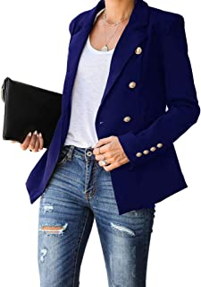 Aurgelmir 女式休闲西装外套前开襟工作办公室时尚西装外套夹克,带纽扣封口