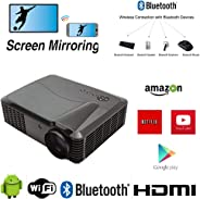 WiFi 投影仪 Android 蓝牙,1920x1080 原生分辨率 4K *大 4500 流明 7000:1 对比度,200 英寸显示屏,支持 HDMI USB VGA RCA AV,适用于 iPhone iPad 手机 Fire Stick PS4 Xbox Chromecast