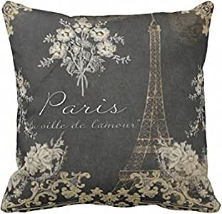 Emvency 抱枕枕套黑色复古巴黎城市爱埃菲尔铁塔黑褐色复古装饰枕套家居装饰方形枕套 橙色 18 x 18 inch