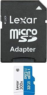 Lexar 雷克沙 LSDMI32GBB1EU300A Micro SDHC UHS-I 300x(45MB/s)高速闪存卡带SD适配器,32 GB