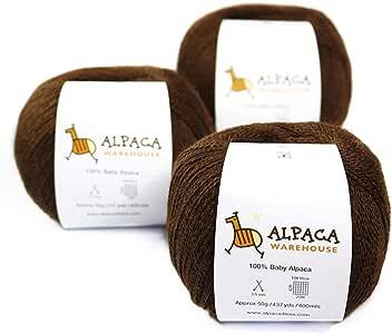 * 婴儿羊驼纱羊毛 3 件套蕾丝重量 棕色 437 yards per skein 62A