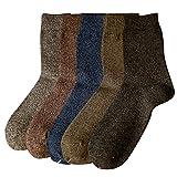 【男士纯色羊毛袜】男士纯色羊毛袜 加厚中筒袜 商务袜男袜 厚款秋冬袜子 (男款羊毛袜五色五双装)