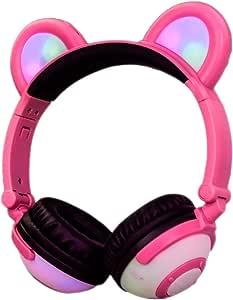 LIMSON 熊耳朵儿童耳机 - 蓝牙可充电无线耳机 - LED 灯闪烁可折叠降噪耳机 BL109LX-btr109