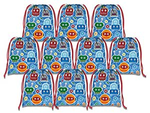 机器人抽绳袋儿童生日派对用品礼品袋,10 个装