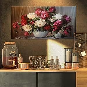 花束 Blooming Peonies 大号帆布印刷艺术墙照片艺术品 印刷品