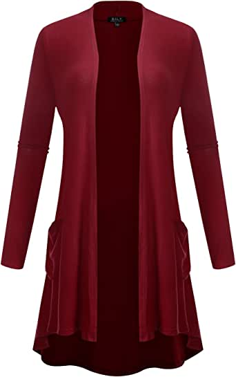 B.I.L.Y BILY Women's Open Front Lightweight Jersey Classic Long Sleeve Cardigan Bsfpk009_burgundy Small