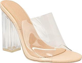 静态鞋履 半透明块 高跟 露趾凉鞋