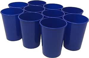CSBD 塑料体育场杯,10 只装,空白可重复使用饮料杯,适用于派对、活动、营销、婚礼、DIY 项目或烧烤野餐,不含 BPA 蓝色 12盎司