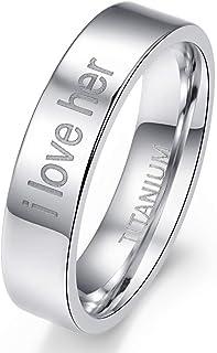 Cloyo 6 毫米钛合金戒指男式高抛光平式银色婚戒雕刻 I Love Her 尺码 7-12