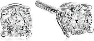 [Amazon Collection] Amazon Collection 14金色 白金色 附带螺旋后导柱 钻石 饰钉耳坠(0.3ct J-K颜色,I2-I3透明度) ERBWG-033-OBS